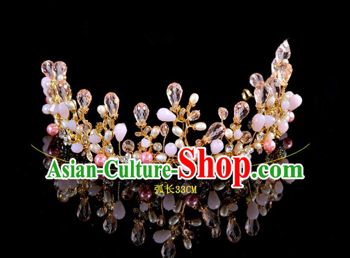 Top Grade Handmade Hair Accessories Baroque Style Palace Princess Wedding Pink Opal Pearls Vintage Royal Crown, Bride Hair Kether Jewellery Imperial Crown for Women