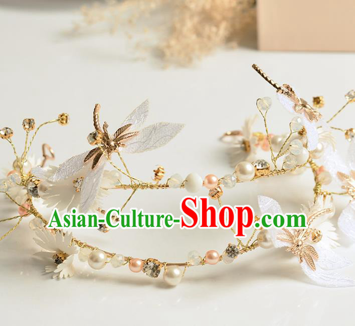 Top Grade Handmade Chinese Classical Hair Accessories Princess Wedding Dragonfly Pearls Hair Clasp Headband Bride Headwear for Women