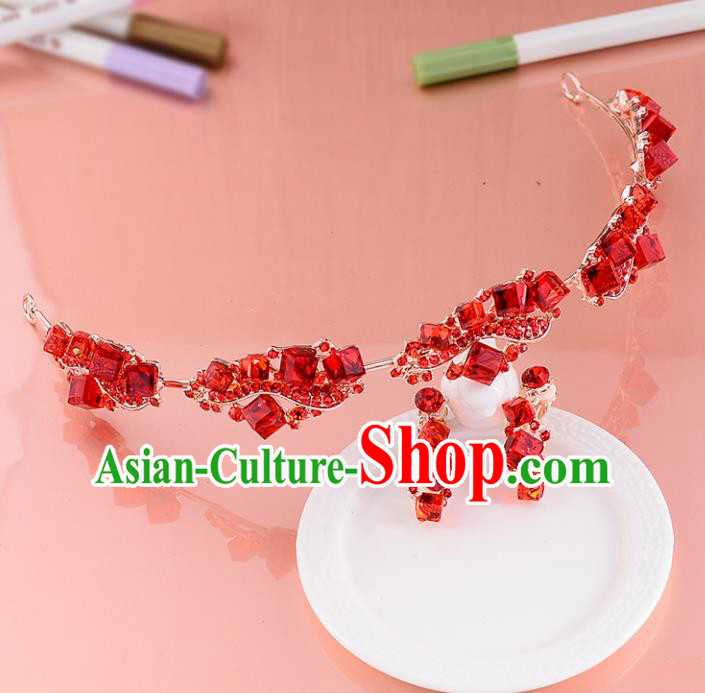 Top Grade Handmade Chinese Classical Hair Accessories Princess Wedding Red Crystal Hair Clasp and Earrings Hair Stick Bride Headwear for Women