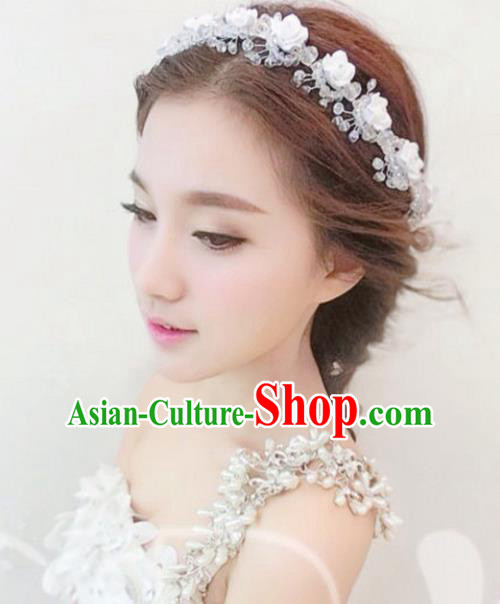 Top Grade Handmade Chinese Classical Hair Accessories Princess Wedding Polymer Clay Flowers Shiny Hair Clasp Headband Bride Headwear for Women