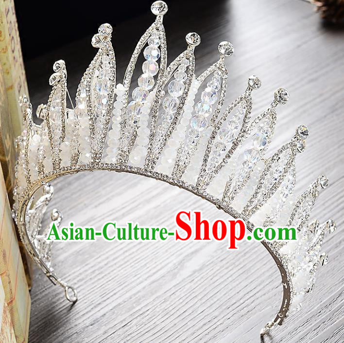 Top Grade Handmade Hair Accessories Baroque Style Palace Princess Wedding Crystal Beads Vintage Round Royal Crown, Bride Hair Kether Jewellery Imperial Crown for Women