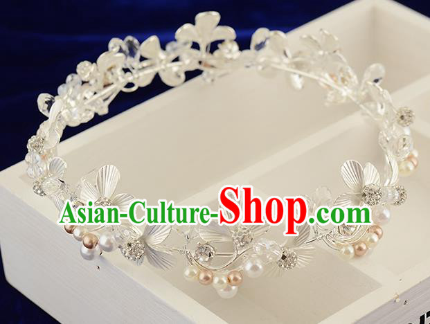 Top Grade Handmade Hair Accessories Baroque Style Wedding White Pearls Royal Crown, Bride Princess Hair Kether Jewellery Round Imperial Crown for Women
