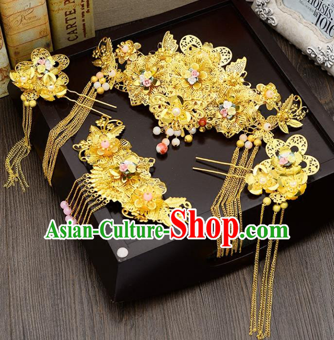 Traditional Handmade Chinese Ancient Wedding Hair Accessories Xiuhe Suit Golden Flowers Forehead Ornament Complete Set, Bride Tassel Step Shake Hanfu Hair Fascinators for Women