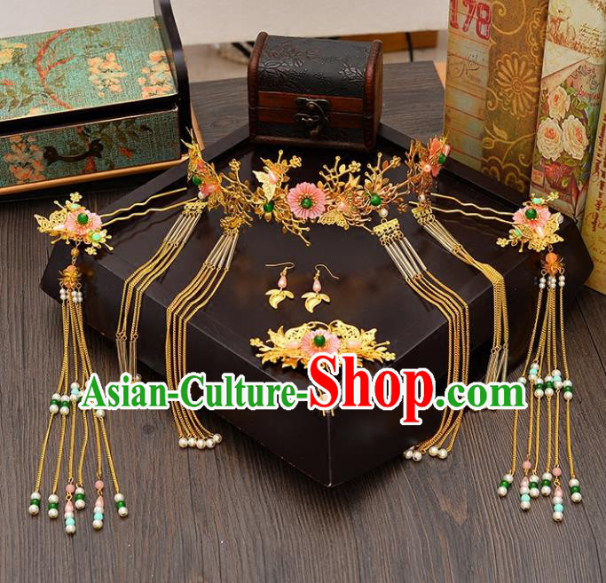 Traditional Handmade Chinese Ancient Wedding Hair Accessories Xiuhe Suit Pink Flowers Forehead Ornament Complete Set, Bride Tassel Step Shake Hanfu Hair Fascinators for Women
