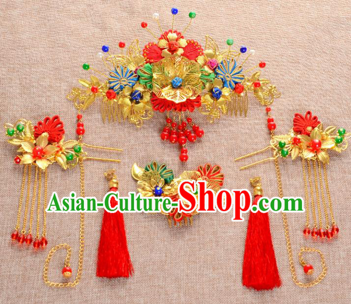 Traditional Handmade Chinese Ancient Wedding Hair Accessories Xiuhe Suit Chinese Knots Forehead Ornament Complete Set, Bride Tassel Step Shake Hanfu Hair Fascinators for Women
