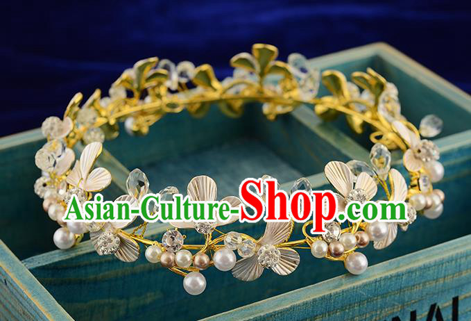 Top Grade Handmade Hair Accessories Baroque Style Wedding Pearls Golden Royal Crown, Bride Princess Hair Kether Jewellery Round Imperial Crown for Women