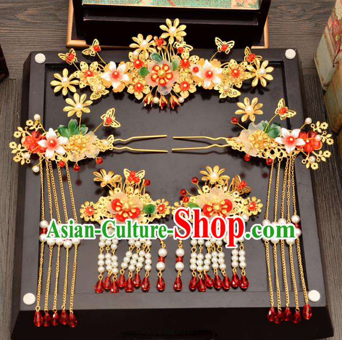 Traditional Handmade Chinese Ancient Wedding Hair Accessories Xiuhe Suit Phoenix Coronet Complete Set, Bride Beads Tassel Step Shake Hanfu Hair Fascinators for Women