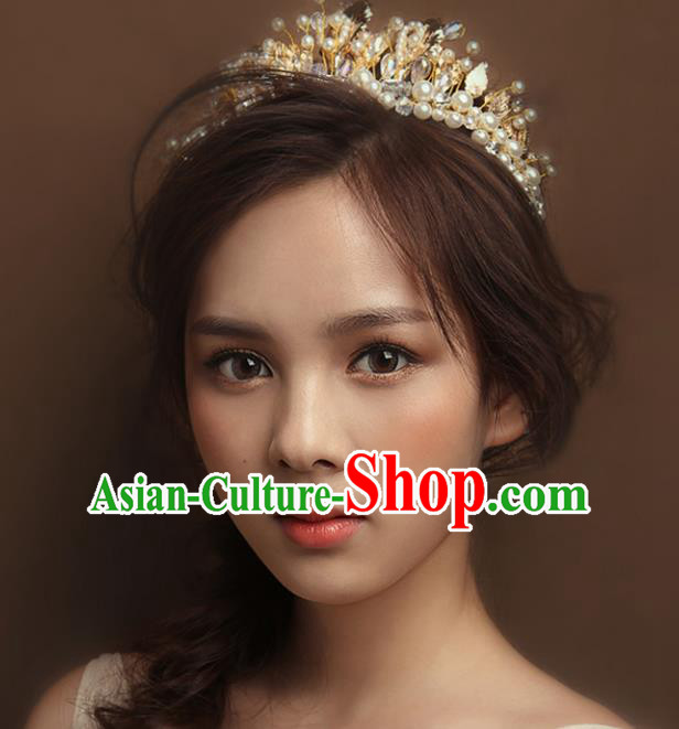 Top Grade Handmade Hair Accessories Baroque Style Wedding Princess Golden Pearls Royal Crown, Bride Hair Kether Jewellery Round Imperial Crown for Women