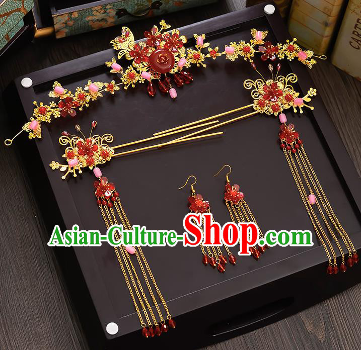 Traditional Handmade Chinese Ancient Wedding Hair Accessories Xiuhe Suit Red Phoenix Coronet Complete Set, Bride Tassel Step Shake Hanfu Hairpins Hair Sticks Hair Jewellery for Women
