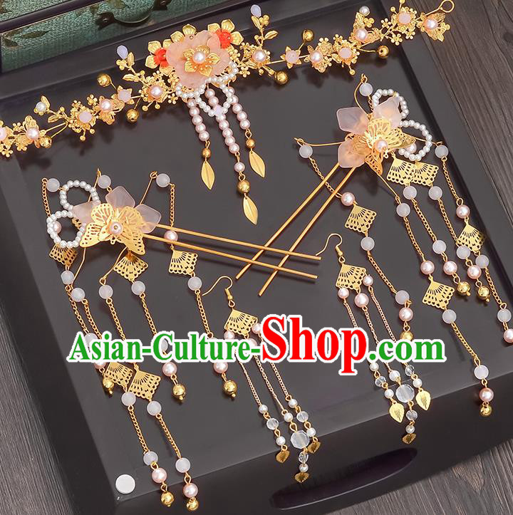 Traditional Handmade Chinese Ancient Wedding Hair Accessories Xiuhe Suit Hairpins Complete Set, Bride Tassel Step Shake Hanfu Hair Sticks Hair Comb for Women
