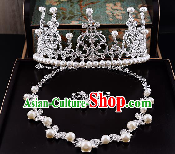Top Grade Handmade Chinese Classical Jewelry Accessories Queen Wedding Crystal Pearls Royal Crown Necklace and Earrings Bride Headgear for Women