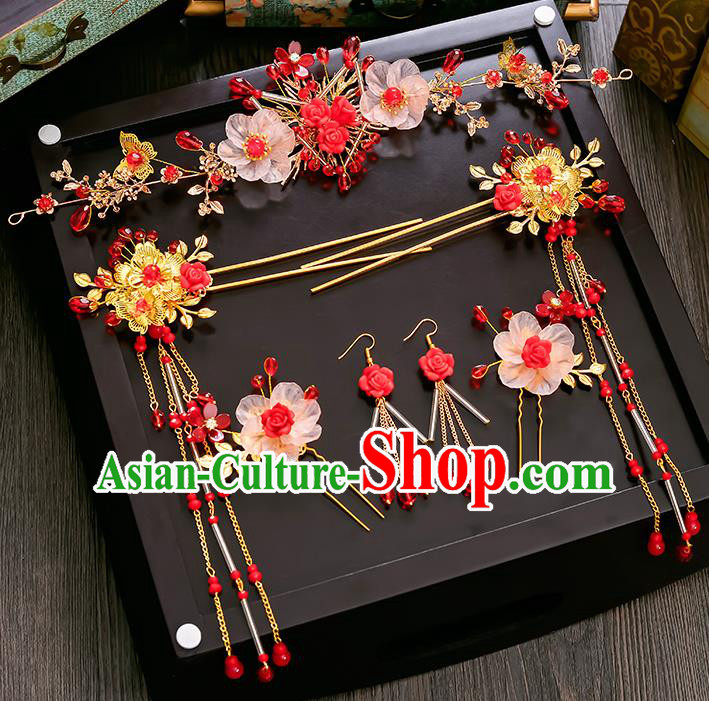 Traditional Handmade Chinese Ancient Wedding Hair Accessories Xiuhe Suit Red Beads Hairpins Complete Set, Bride Tassel Step Shake Hanfu Hair Sticks Hair Comb for Women