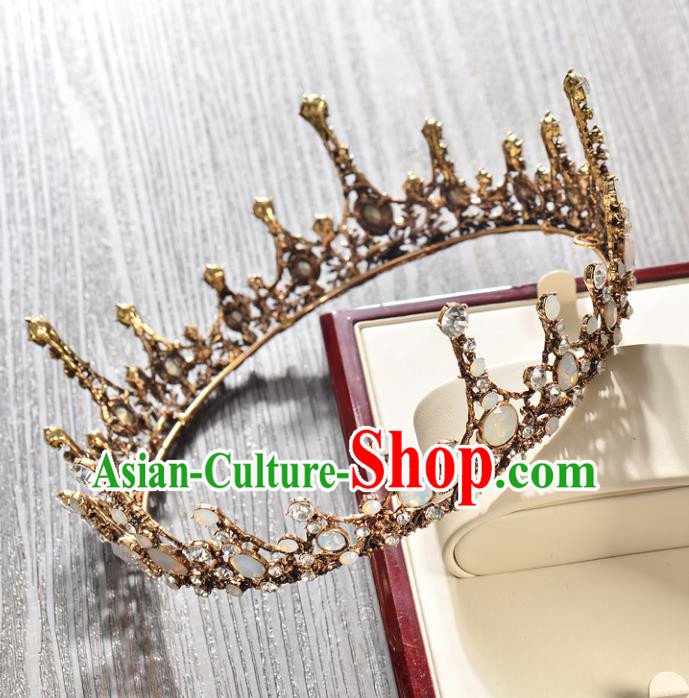 Top Grade Handmade Hair Accessories Baroque Style Wedding Queen Full Dress Opal Round Royal Crown, Bride Toast Hair Kether Jewellery Imperial Crown for Women