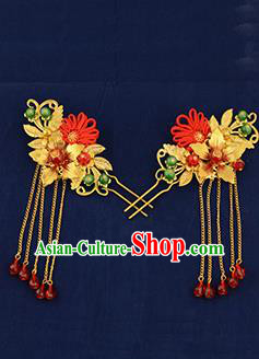 Traditional Handmade Chinese Ancient Wedding Hair Accessories Xiuhe Suit Golden Tassel Hairpins, Bride Step Shake Hanfu Hair Sticks Hair Fascinators for Women