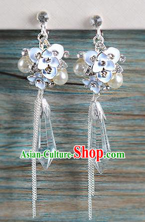 Top Grade Handmade Chinese Classical Jewelry Accessories Wedding Crystal Tassel Earrings Bride Hanfu Eardrop for Women