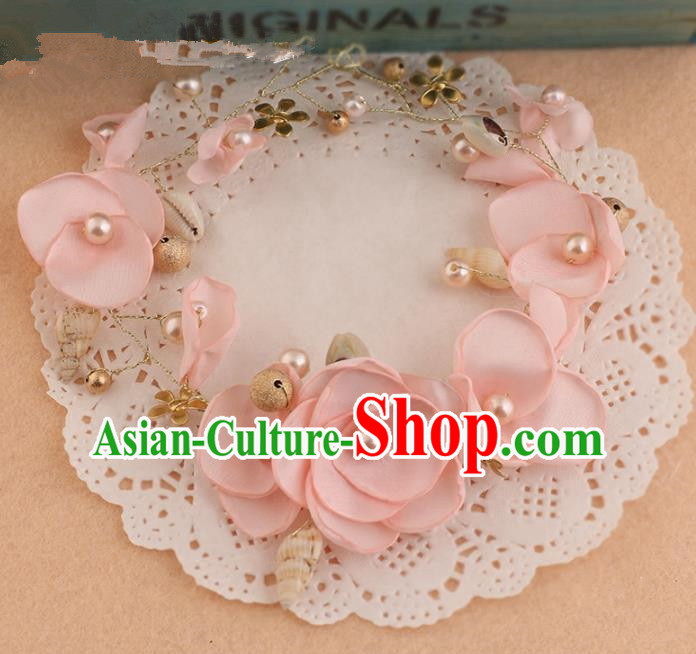 Top Grade Handmade Chinese Classical Hair Accessories Princess Wedding Baroque Pink Silk Flowers Hair Clasp Bride Headband Headwear for Women