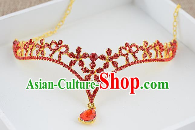 Top Grade Handmade Hair Accessories Baroque Luxury Red Crystal Forehead Ornament, Bride Wedding Hair Kether Jewellery Princess Imperial Crown for Women