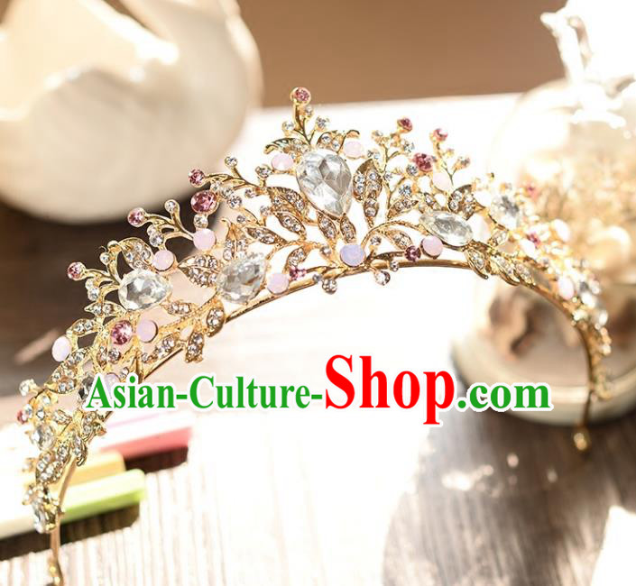 Top Grade Handmade Hair Accessories Baroque Luxury Crystal Opal Royal Crown, Bride Wedding Hair Kether Jewellery Princess Imperial Crown for Women