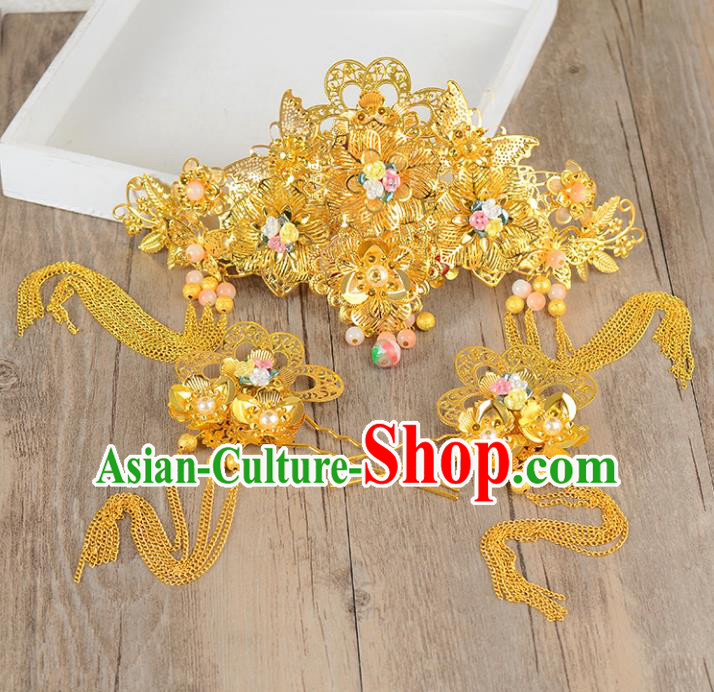 Traditional Handmade Chinese Ancient Costume Wedding Xiuhe Suit Phoenix Coronet Hair Accessories Complete Set, Bride Palace Lady Tassel Step Shake Hanfu Hairpins for Women