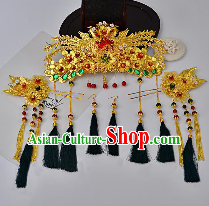 Traditional Handmade Chinese Ancient Costume Wedding Xiuhe Suit Hair Accessories Complete Set Phoenix Coronet, Bride Palace Lady Green Tassel Step Shake Hanfu Hairpins for Women
