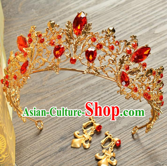 Top Grade Handmade Hair Accessories Baroque Style Palace Princess Wedding Red Crystal Vintage Royal Crown and Earrings, Bride Hair Kether Jewellery Imperial Crown for Women