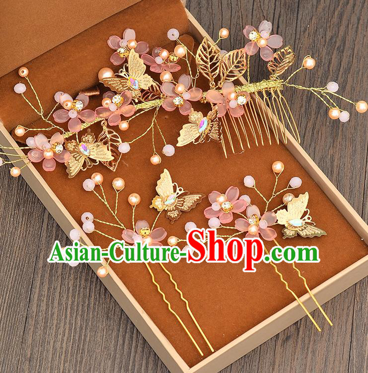 Top Grade Handmade Chinese Classical Hair Accessories Princess Wedding Baroque Pink Flowers Hair Clasp Hairpins Headband Bride Headwear for Women