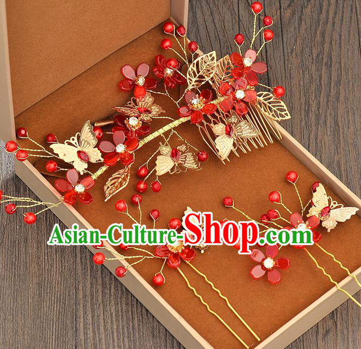 Top Grade Handmade Chinese Classical Hair Accessories Princess Wedding Baroque Red Flowers Hair Clasp Hairpins Headband Bride Headwear for Women