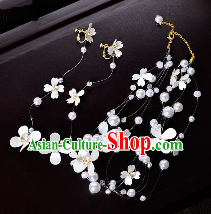 Top Grade Handmade Chinese Classical Hair Accessories Princess Wedding Baroque Pearls Garland Hair Clasp and Earrings Headband Bride Headwear for Women