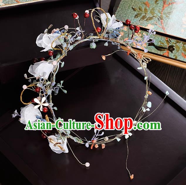 Top Grade Handmade Chinese Classical Hair Accessories Princess Wedding Baroque White Silk Flower Garland Hair Clasp Bride Headband Headwear for Women
