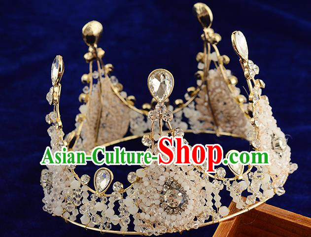 Top Grade Handmade Hair Accessories Baroque Queen Crystal Beads Round Royal Crown, Bride Wedding Hair Kether Jewellery Imperial Crown for Women