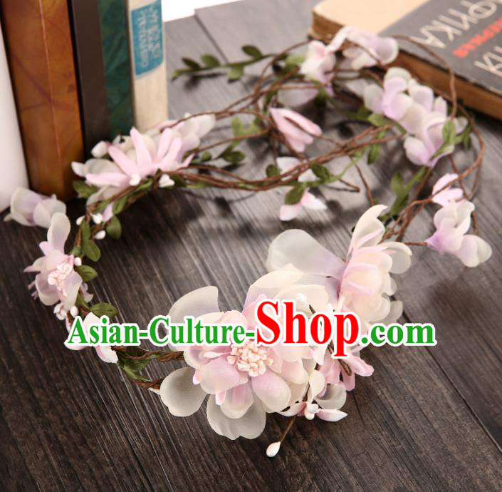 Top Grade Handmade Chinese Classical Hair Accessories Princess Wedding Baroque Hair Clasp Bride Pink Silk Flowers Headband Headwear for Women