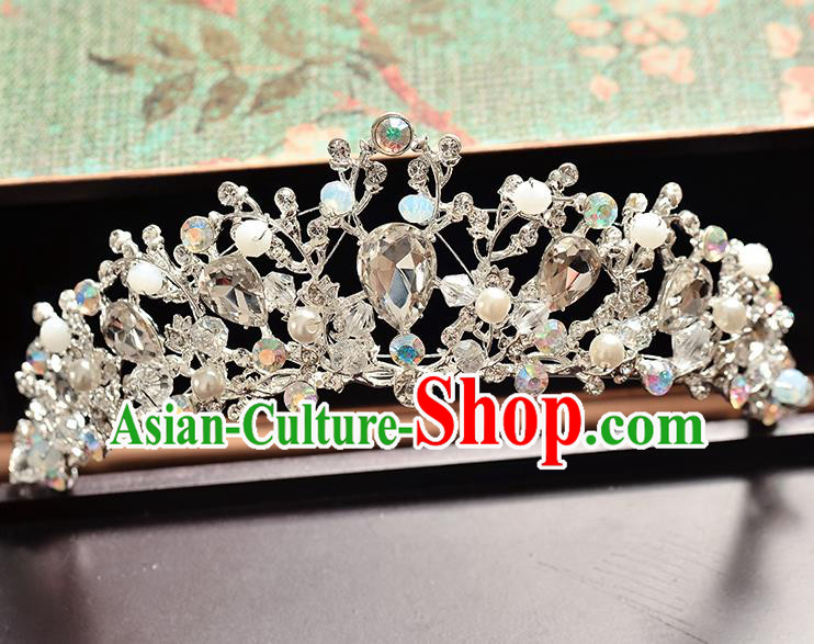 Top Grade Handmade Hair Accessories Baroque Luxury Crystal Beads Royal Crown, Bride Wedding Hair Kether Jewellery Princess Imperial Crown for Women