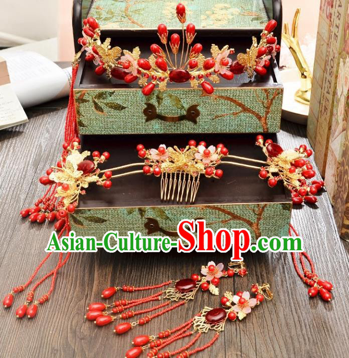 Traditional Handmade Chinese Ancient Wedding Xiuhe Suit Hair Accessories Red Tassel Hair Clasp, Bride Palace Lady Step Shake Hanfu Hairpins for Women