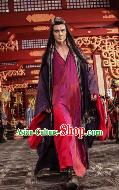 Traditional Chinese Ancient Times Devil Kawaler Costume, Xuan-Yuan Sword Legend  The Clouds of Han Chinese Swordsman Hanfu Robe for Men