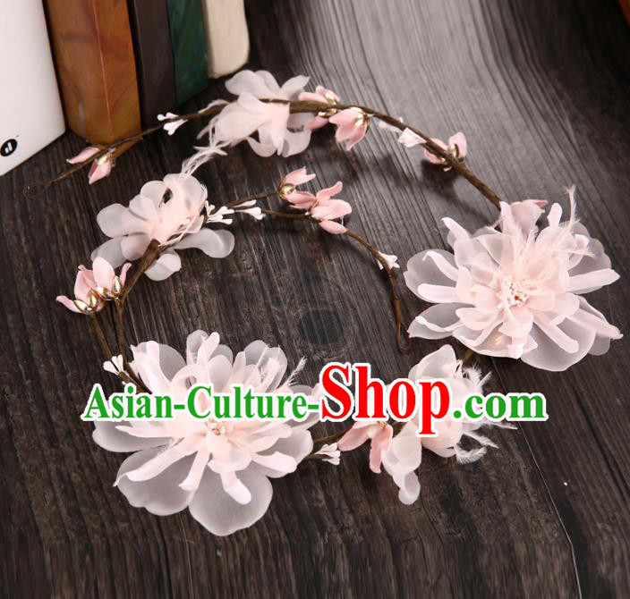Top Grade Handmade Chinese Classical Hair Accessories Princess Wedding Baroque Headwear Pink Feather Flowers Hair Clasp Bride Headband for Women