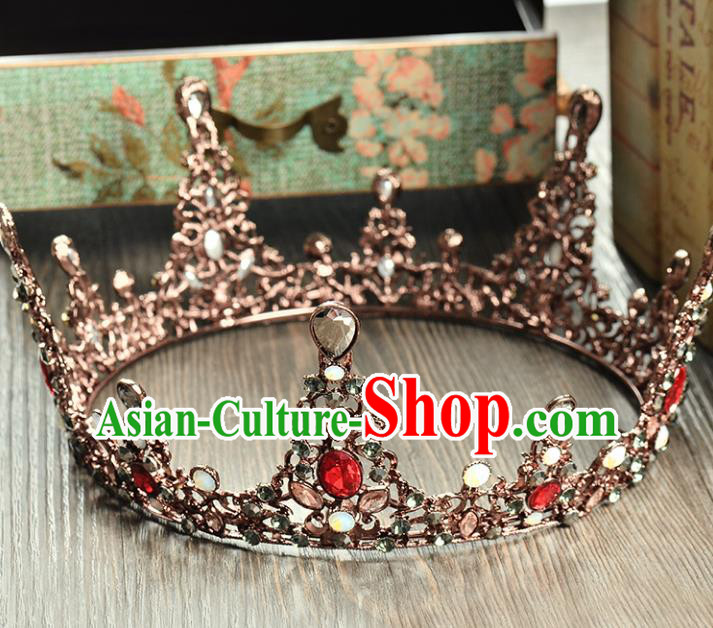 Top Grade Handmade Hair Accessories Baroque Crystal Round Imperial Crown, Bride Wedding Hair Jewellery Queen Crystal Crown for Women