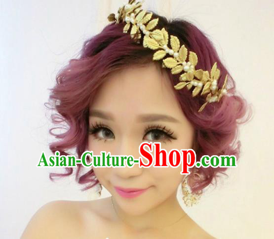 Top Grade Handmade Chinese Classical Hair Accessories Princess Wedding Baroque Golden Leaf Headwear Pearls Headband Bride Hair Clasp for Women