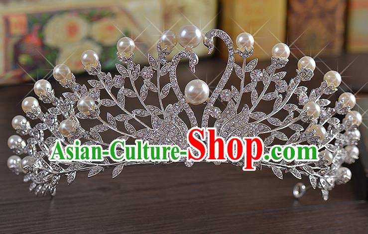 Top Grade Handmade Hair Accessories Baroque Queen Crystal Peacock Royal Crown, Bride Wedding Hair Jewellery Princess Pearls Imperial Crown for Women