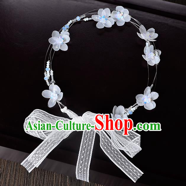 Top Grade Handmade Chinese Classical Hair Accessories Princess Wedding Baroque Headwear White Flowers Lace Hair Clasp Bride Headband for Women