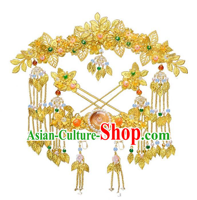Traditional Handmade Chinese Wedding Xiuhe Suit Bride Hair Accessories Golden Tassel Hairpins Complete Set, Step Shake Hanfu Phoenix Coronet Hairpins for Women