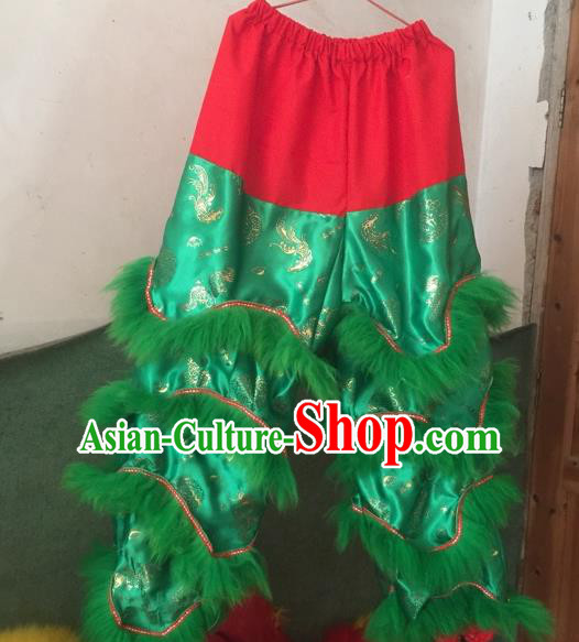 World Lion Dance Competition Fur Hoksan Costume Lion Dance Pants Adult Size Costumes Green Trousers