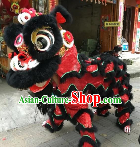 World Lion Dance Competition Black Fur Lion Head Lion Dance Double Person Costumes for Adult