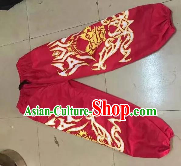 World Lion Dance Competition Costume Lion Dance Pants Adult Size Costumes Red Trousers