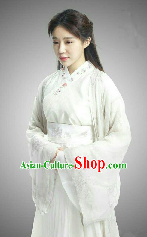 Traditional Chinese Handmade Ming Dynasty Fairy Embroidery Costume and Headpiece Complete Set, Chinese Princess Palace Lady Hanfu Dress for Women