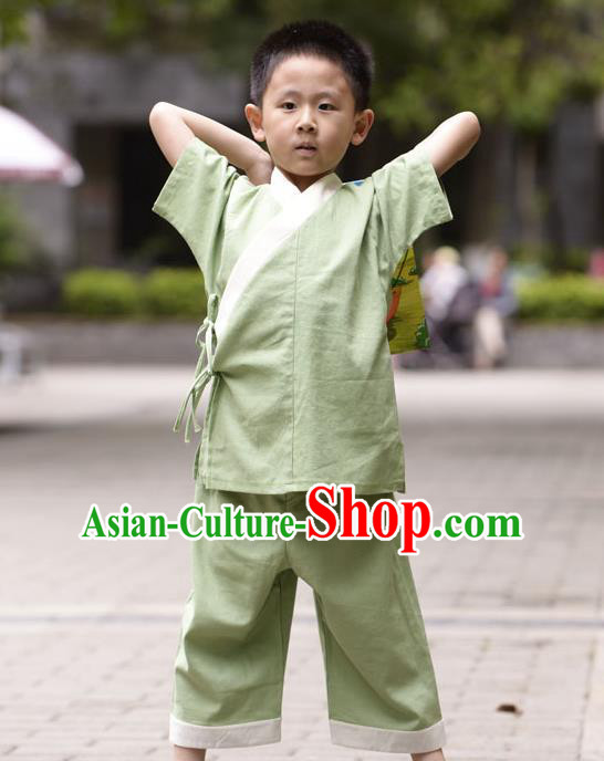 Traditional Chinese Han Dynasty Children Hanfu Kungfu Costume, China Ancient Martial Arts Green Clothing for Kids