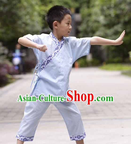 Traditional Chinese Han Dynasty Children Hanfu Kungfu Costume, China Ancient Martial Arts Blue Clothing for Kids
