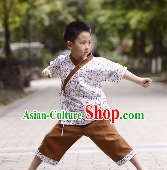 Traditional Chinese Han Dynasty Children Hanfu Kungfu Costume, China Ancient Martial Arts Brown Clothing for Kids