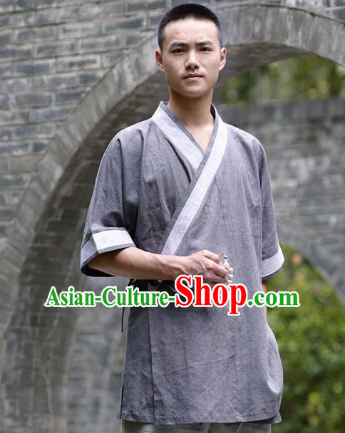 Traditional Chinese Han Dynasty Nobility Childe Hanfu Costume Slant Opening Deep Grey Shirt, China Ancient Martial Arts Upper Garment Clothing for Men