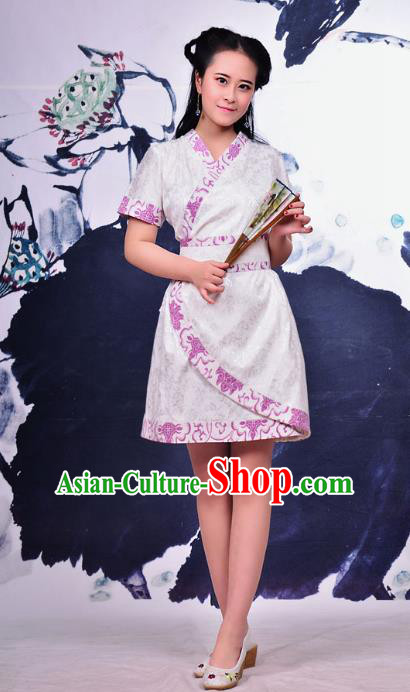 Traditional Ancient Chinese Young Women Cheongsam Pink Dress, Republic of China Tangsuit Brocade Cheongsam for Women