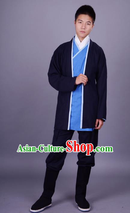 Traditional Chinese Han Dynasty Nobility Childe Hanfu Costume Slant Opening Blue Shirt and Cardigan, China Ancient Martial Arts Upper Garment Clothing for Men
